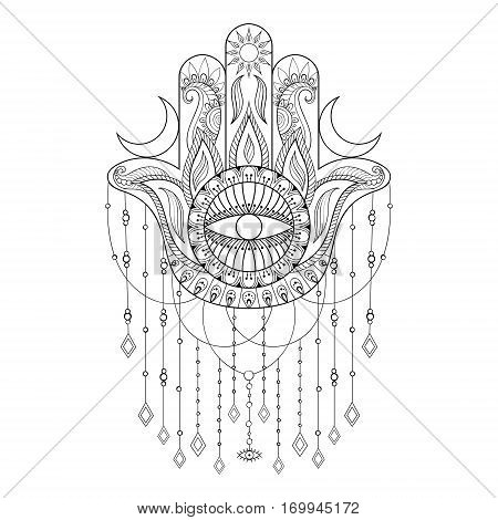 Hamsa hand vector illustration. Hand drawn symbol of protection for adult anti stress coloring book, page in zentangle style. Blackwork yoga tattoo design.