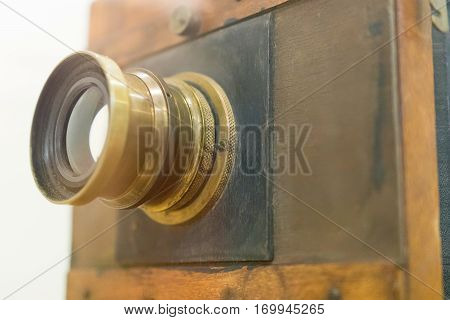Antique Old Photo Camera Closeup. Old Vintage Wooden Camera.