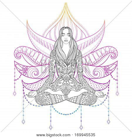 Woman sitting in lotus position on color background.  Vector ornate girl silhouette for adult coloring pages, meditation, yoga, gipsy soul, hand drawn ethnic motif.