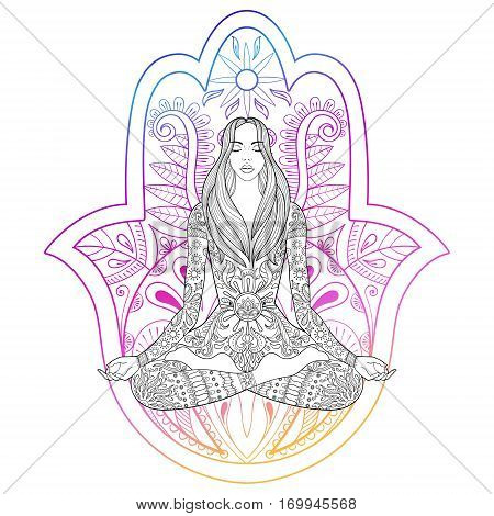 Woman sitting in lotus position on color hamsa hand background.  Vector ornate girl silhouette for adult coloring pages, meditation, yoga, gipsy soul, hand drawn ethnic motif.