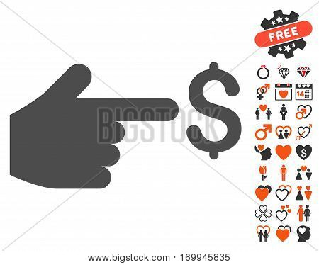 Dollar Index pictograph with bonus love pictograms. Vector illustration style is flat iconic symbols for web design app user interfaces.