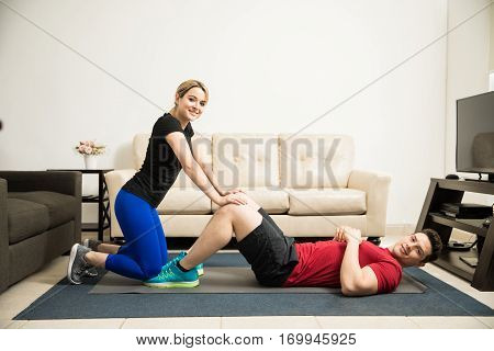 Pretty Couple Working Out Together