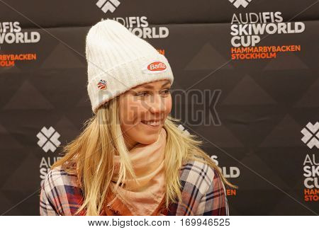 STOCKHOLM SWEDEN - JAN 30 2017: Smiling Mikaela Shiffrin interviewed at a press conference before the parallel slalom Audi FIS Ski World Cup. January 30 2017 Stockholm Sweden
