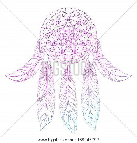 Hand drawn illustration of ethnic pink dream catcher in zentangle style, native american symbol for greeting card, t-shirt print, poster.