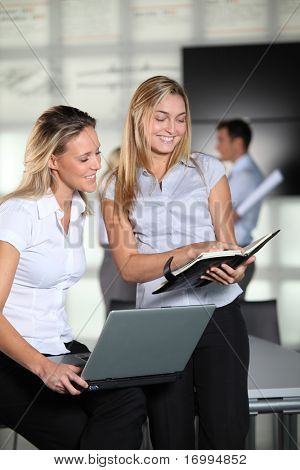 Businesswomen meeting with laptop and agenda