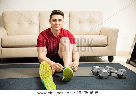 Hispanic Man Ready To Exercise At Home