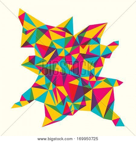Abstract style object with geometric design elements in various colors. Vector illustration.