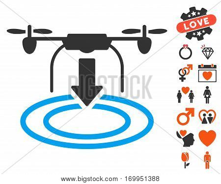 Drone Landing icon with bonus lovely pictograph collection. Vector illustration style is flat iconic elements for web design app user interfaces.