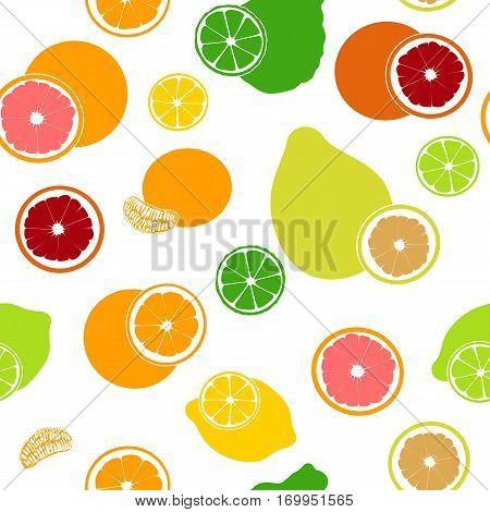 Seamless pattern vector collection of flat citrus fruits and slices. Bergamot, lemon, grapefruit, lime, mandarin, pomelo, orange, blood orange. for cosmetics, prints, textile, banners, decoration