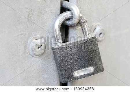 The image of a lock on a door
