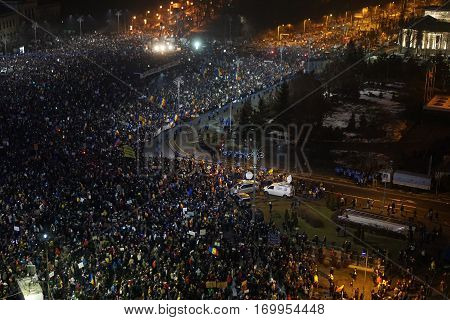 BUCHAREST/ROMANIA - 05 February 2017: More than 240000 protesters in Victory Square (Piata Victoriei)