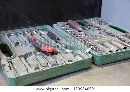 Close up set of previously used dirty tools