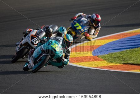 VALENCIA, SPAIN - NOV 11: 36 Mir, 63 Perez during Moto3 practice in Motogp Grand Prix of the Comunidad Valencia on November 11, 2016 in Valencia, Spain.