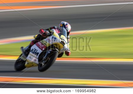 VALENCIA, SPAIN - NOV 11: Karel Hanika during Moto3 practice in Motogp Grand Prix of the Comunidad Valencia on November 11, 2016 in Valencia, Spain.