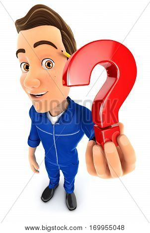 3d mechanic holding a question mark icon illustration with isolated white background