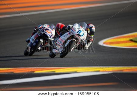 VALENCIA, SPAIN - NOV 11: 88 Martin, 4 Di Giannantonio during Moto3 practice in Motogp Grand Prix of the Comunidad Valencia on November 11, 2016 in Valencia, Spain.