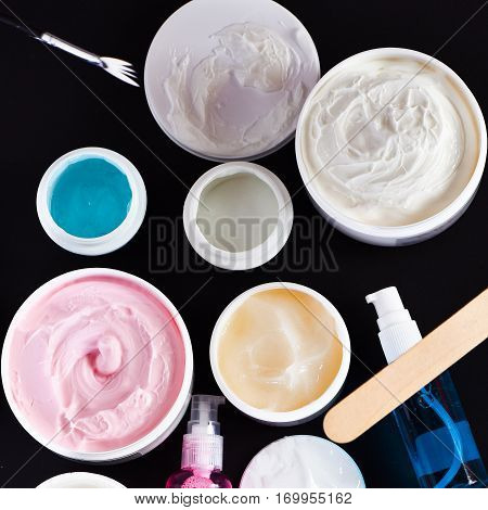 Various Cosmetics: Cream, Gel, Cleanser, Brushes, Nail File, Cosmetic Spatula