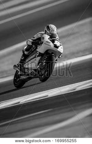 VALENCIA, SPAIN - NOV 11: Albert Arenas during Moto3 practice in Motogp Grand Prix of the Comunidad Valencia on November 11, 2016 in Valencia, Spain.