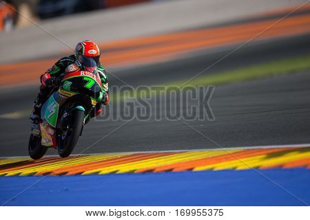 VALENCIA, SPAIN - NOV 11: Adam Norrodin during Moto3 practice in Motogp Grand Prix of the Comunidad Valencia on November 11, 2016 in Valencia, Spain.