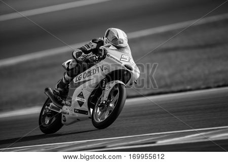 VALENCIA, SPAIN - NOV 11: Juanfran Guevara during Moto3 practice in Motogp Grand Prix of the Comunidad Valencia on November 11, 2016 in Valencia, Spain.