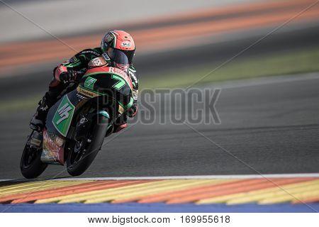 VALENCIA, SPAIN - NOV 11: Adam Norrodin during Moto3 practice in Motogp Grand Prix of the Comunidad Valencia on November 11, 2016 in Valencia, Spain.