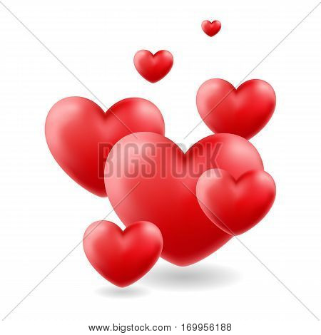 Group of glossy hearts flying up. Love symbol. Vector icon. Valentines Day or Wedding sign isolated on white background