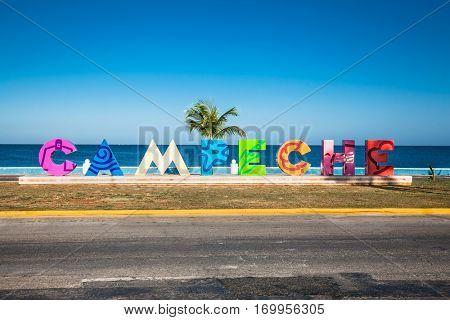 CAMPECHE, MEXICO - DEC 14, 2015: Asta de Bandera, Seafront of Campeche on Dec 14, 2015,Yucatan, Mexico .  America.