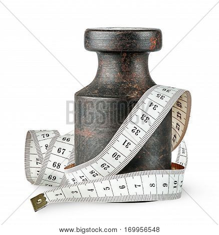 Old rusty weight wrapped centimeter isolated on white background