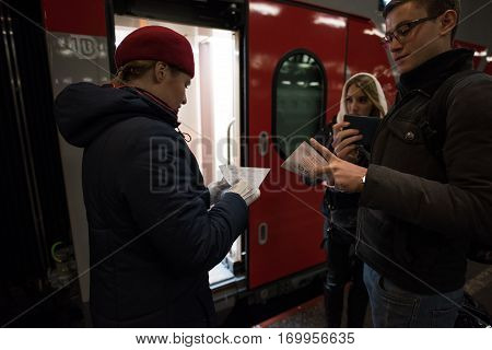 Conductor Of The Car To Check The Documents Of Passengers And Tickets