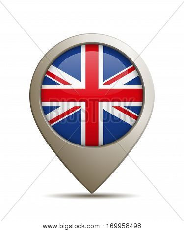 Vector Illustration Of A Straight Location Pin With United Kingdom Flag