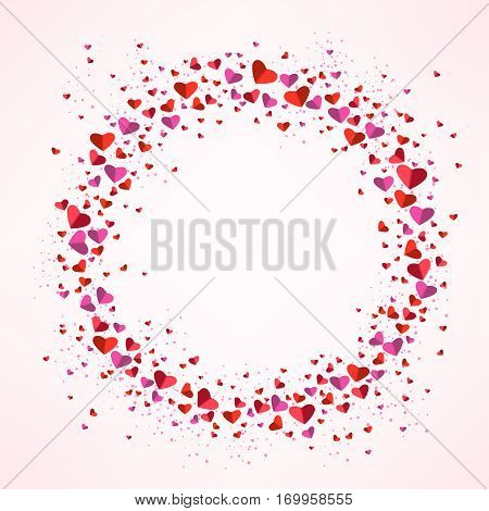 Romantic circle of small and big flat hearts. Valentine card. Congratulation enamored day. Beautiful love confession