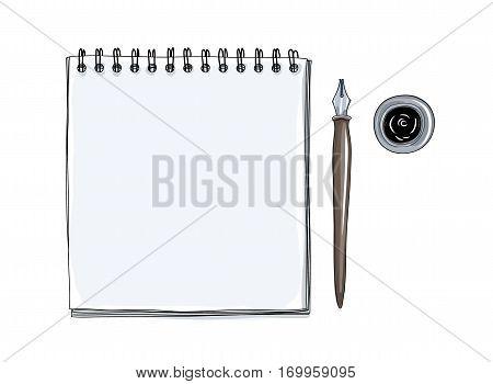 Art Sketchbook Mockup  Blank Paper And Vintage Dip Ink Nib Pen  Hand Drawn Vector  Art  Illustration