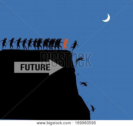 The crowd of workers team fall Off the Cliff they were followed the Leadership business concept vector