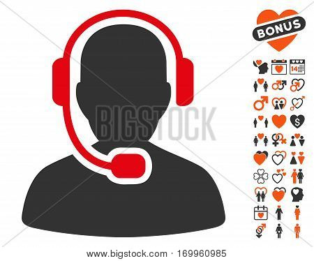 Call Center Operator pictograph with bonus romantic design elements. Vector illustration style is flat iconic symbols for web design app user interfaces.