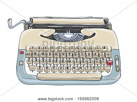 Typewriter Creme And Blue Vintage Vector Art Cute Illustration