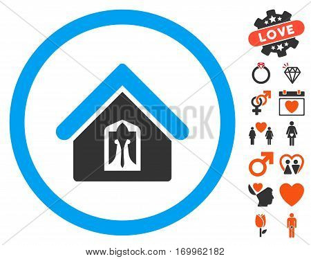 Home pictograph with bonus love pictures. Vector illustration style is flat iconic elements for web design app user interfaces.