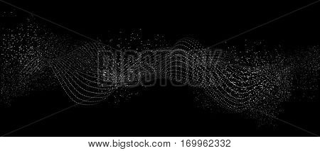 Abstract particle flow. White dots on black background.