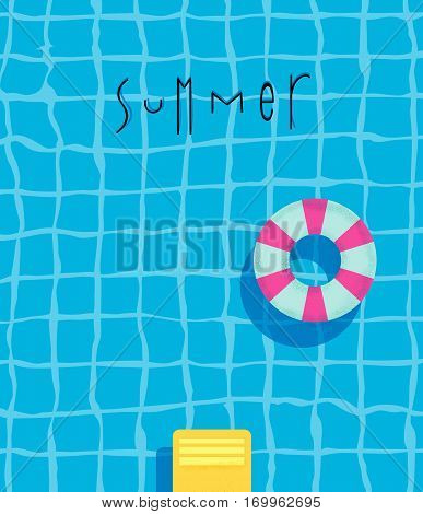 Summer pool poster with pool swimming ring bright colorful modern style