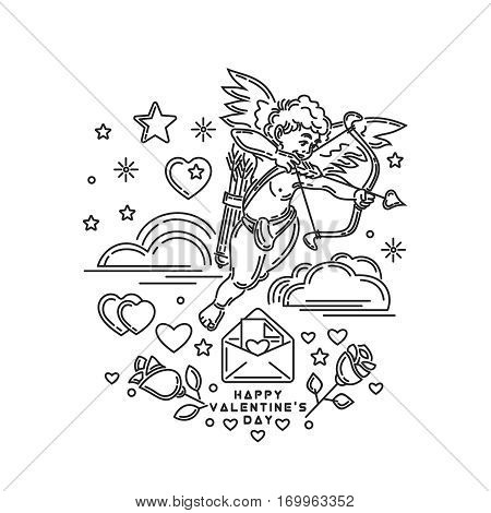 Boy Cupid shooting from bow. Romantic letter in an envelope. Roses and greeting inscription. Line icons set for Valentine's Day and other romantic events. Vector illustration