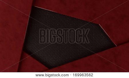 red metal and carbon grundge background frame, 3d illustration