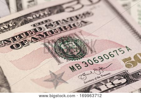 SARANSK, RUSSIA - FEBRUARY 5, 2017: Closeup shot of United States fifty-dollar bill. Deep of field photo.