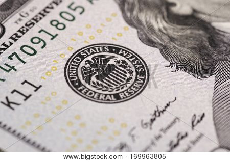 SARANSK, RUSSIA - FEBRUARY 5, 2017: Federal Reserve icon on United States dollar bill.