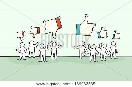 Sketch of little people with like and dislike signs. Doodle cute miniature scene of workers. Hand drawn cartoon vector illustration for business and web design.