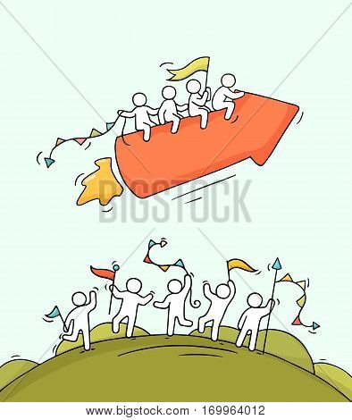 Cartoon happy little people with starting arrow like rocket. Doodle cute miniature scene of workers and start up concept. Hand drawn vector illustration for business design.