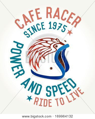Cafe racer helmet poster, ride and fun