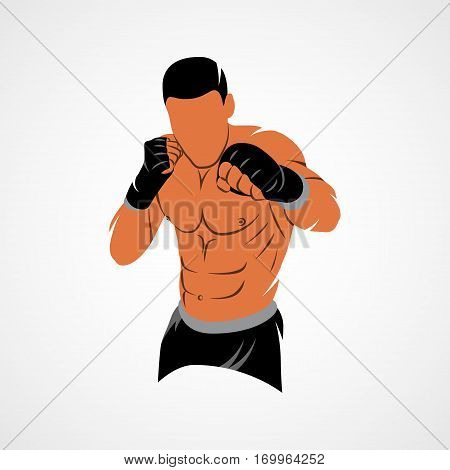 Abstract mixed martial arts fighter on a white background. Photo illustration.