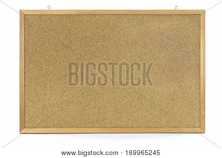 Cork notice board with wooden frame isolated on white background