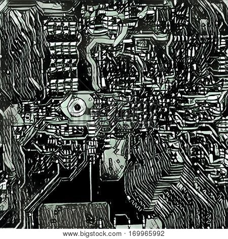 Digital illustration - The model of the chip. Technological background. Black and white colors. Motherboard close up backgrop image. Monochrome electronic microchip picture in dark futuristic style.