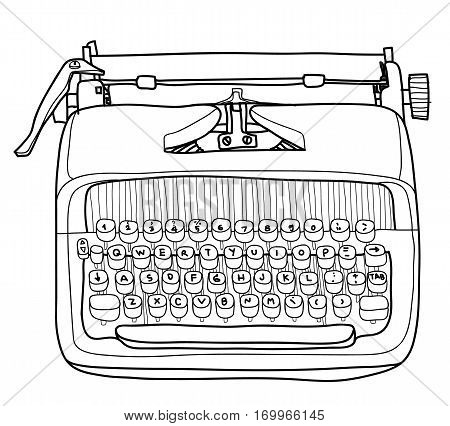 Vectot Typewriter Working Portable Hand Drawn Line Art Cute Illustration