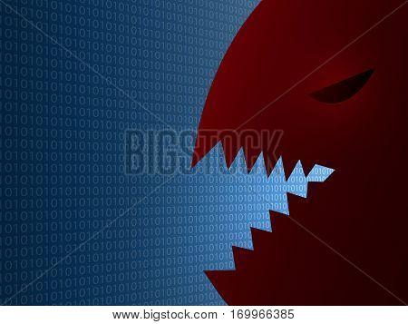 vector virus attacks the data internet concept